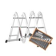 Лестница алюминиевая трансформер Dnipro-M MP-43 + Набор ключей рожково-накидных