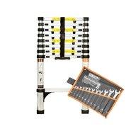 Лестница алюминиевая телескопическая Dnipro-M TL126 2.6 м + Набор ключей рожково-накидных