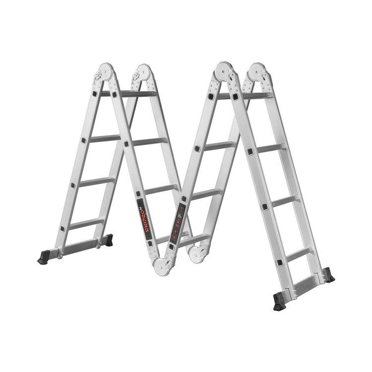 Лестница алюминиевая трансформер Dnipro-M MP-44 4,7 м + Набор ключей рожково-накидных фото №2