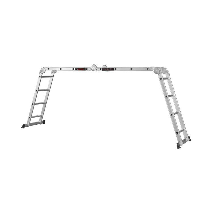 Лестница алюминиевая трансформер Dnipro-M MP-44 4,7 м + Набор ключей рожково-накидных фото №7