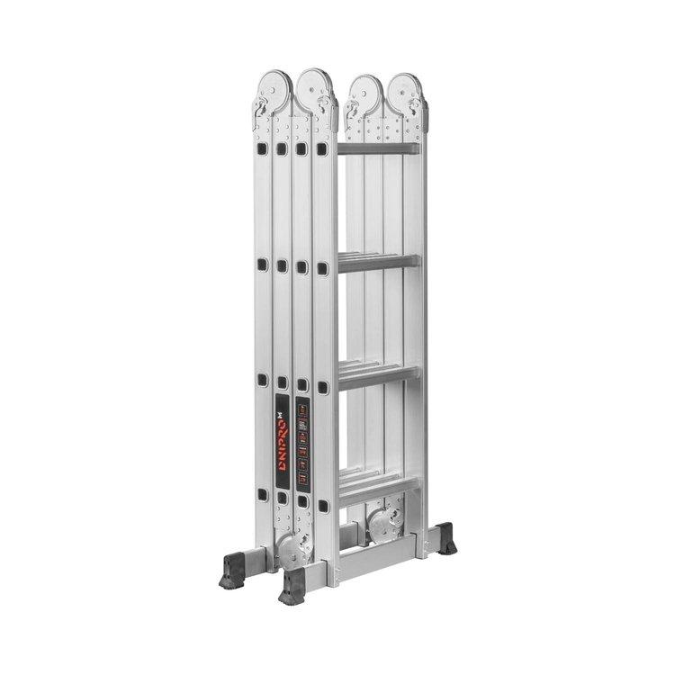 Лестница алюминиевая трансформер Dnipro-M MP-44 4,7 м + Набор ключей рожково-накидных фото №8
