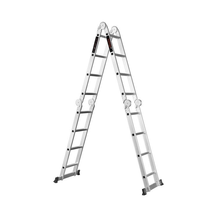 Лестница алюминиевая трансформер Dnipro-M MP-44 4,7 м + Набор ключей рожково-накидных фото №10