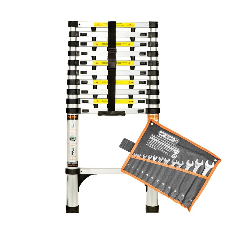 Лестница алюминиевая телескопическая Dnipro-M TL132 3.2 м + Набор ключей рожково-накидных