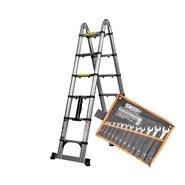 Лестница алюминиевая телескопическая раскладная Dnipro-M TL238 + Набор ключей рожково-накидных