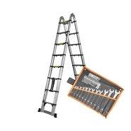 Лестница алюминиевая телескопическая раскладная Dnipro-M TL250 + Набор ключей рожково-накидных