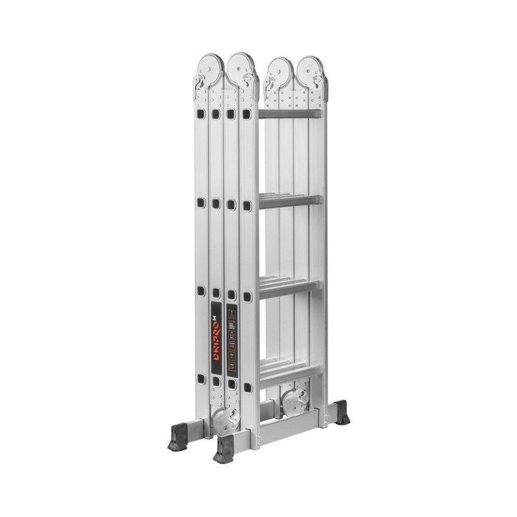 Лестница алюминиевая трансформер Dnipro-M MP-44Р 4,7 м + Шпатель фасадный Ultra 600 мм фото №3