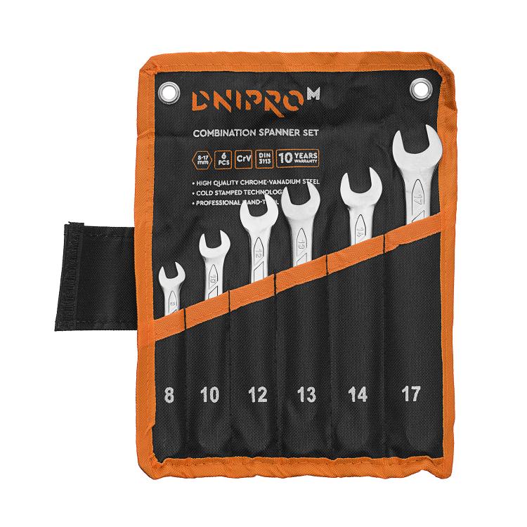 Набор ключей рожково-накидных Dnipro-M (8, 10, 12, 13, 14, 17 мм) (6 шт.)