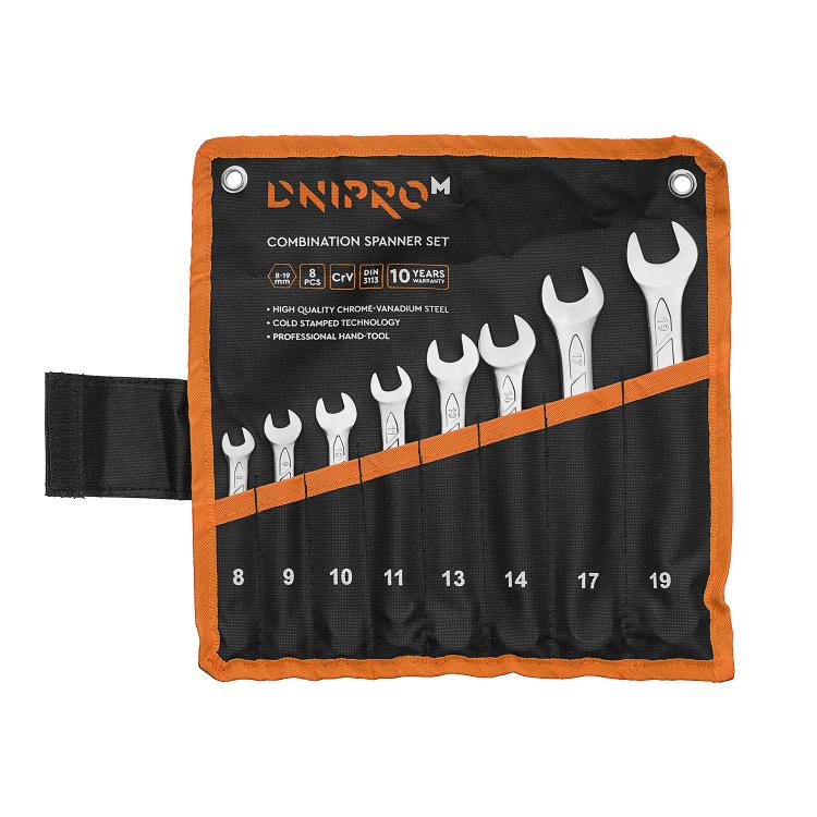 Набор ключей рожково-накидных Dnipro-M (8 шт.) (8-11, 13, 14, 17, 19 мм)