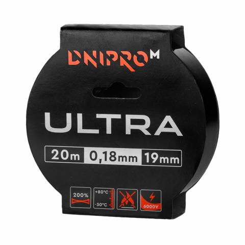 Изоляционная лента Dnipro-M Ultra 20 м 19 мм 0,18 мм черный 6000 В