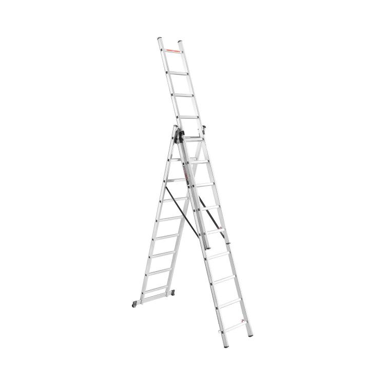 Лестница алюминиева универсальная Dnipro-M CL-309 652 см + Лопата совковая Foresta SS-1101 фото №2