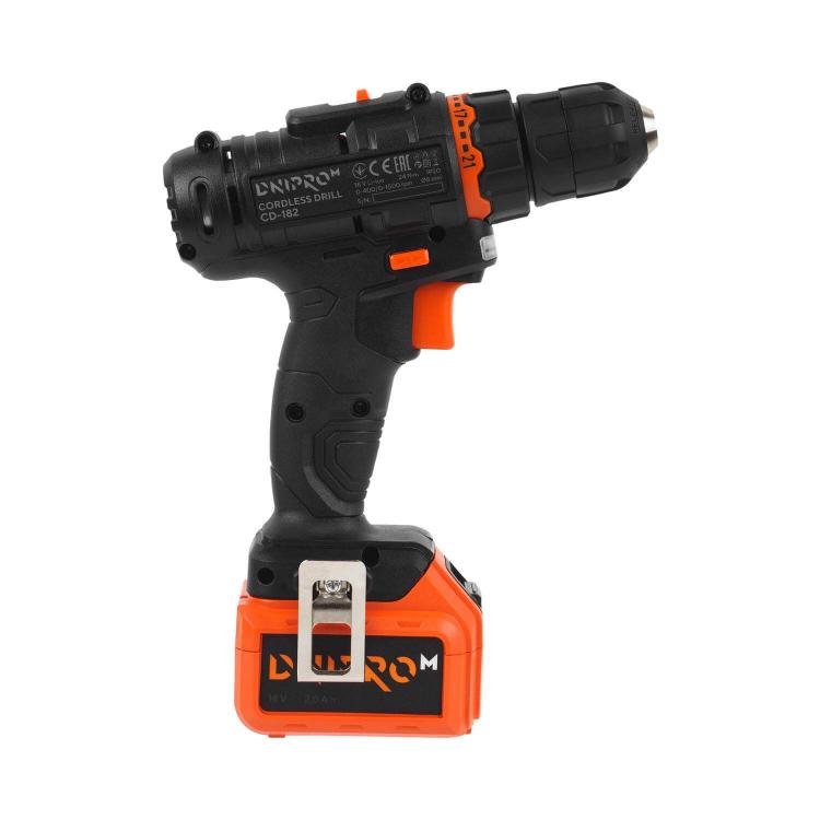 Аккумуляторная дрель-шуруповёрт Dnipro-M CD-182 + Рулетка Ultra 5 м*25 мм фото №4