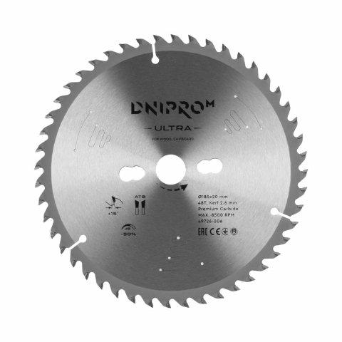 Пильний диск Dnipro-M ULTRA 185 мм 20 16 48Т (по дереву, ДСП)