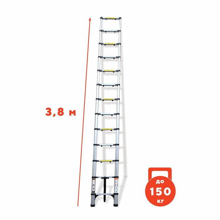 Лестница алюминиевая телескопическая Dnipro-M DT-138 3.8 м фото №2