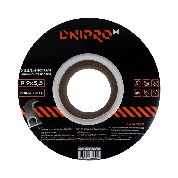 Уплотнитель самоклеющийся Dnipro-M Р 100 белый 9*5,5 мм