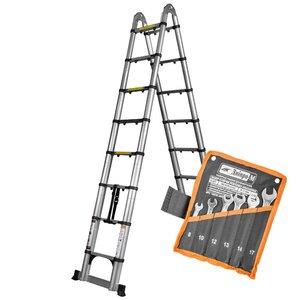 Лестница алюминиевая телескопическая Dnipro-M DTP-250 5 м + Подарок